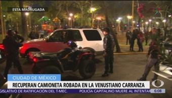 Recuperan camioneta robada en la alcaldía Venustiano Carranza