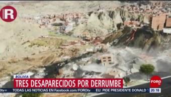 FOTO: Reportan tres desaparecidos por derrumbe en Bolivia, 1 MAYO 2019