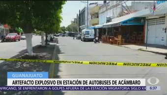 Retiran artefacto explosivo en terminal de autobuses de Acámbaro, Guanajuato