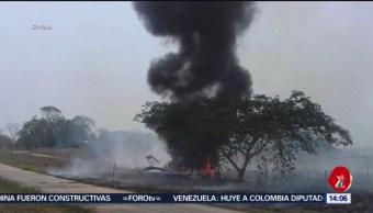 FOTO: Se incendia avioneta en el municipio Tres Valles en Veracruz, 11 MAYO 2019