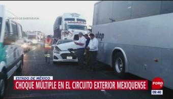 Se registra choque múltiple en el Circuito Exterior Mexiquense (CEM)
