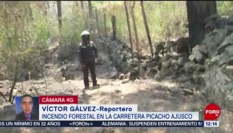 Se registra incendio en la carretera Picacho-Ajusco, CDMX