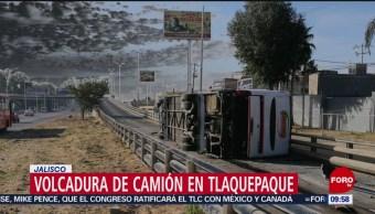 FOTO: Siete heridos por volcadura de camión de transporte público en Tlaquepaque, Jalisco, 4 MAYO 2019