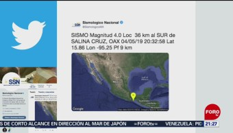 FOTO: Sismo de magnitud 4.0 Salina Cruz, Oaxaca, 4 MAYO 2019