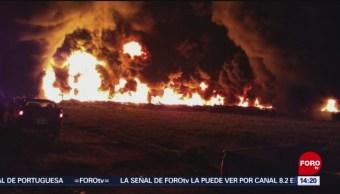 FOTO: Sofocan incendio en toma clandestina en un ducto de Pemex en Hidalgo, 26 MAYO 2019