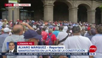 FOTO: Trabajadores de Ruta 100 se manifiestan en el Zócalo