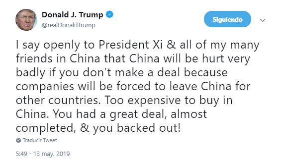 Foto Trump advierte a China de no tomar represalia 13 mayo 2019