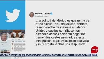 Trump dice que México está equivocado en tema migratorio