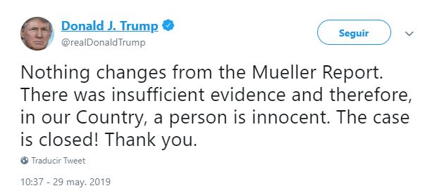 Imagen: Tuit sobre trama rusa, 29 de mayo de 2019, Estados Unidos