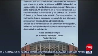 Foto: UAM Suspensión Labores Contingencia Ambiental CDMX 15 de Mayo 2019