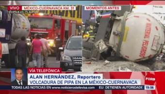 FOTO: Volcadura de pipa con sosa caustica en la México-Cuernavaca deja un herido, 25 MAYO 2019