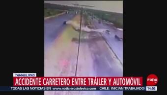 FOTO: Accidente carretero entre tráiler y automóvil en Tamaulipas, 16 Junio 2019