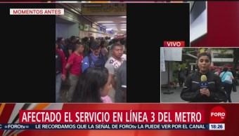 Foto: Afectado Servicio Línea 3 Metro 14 Junio 2019