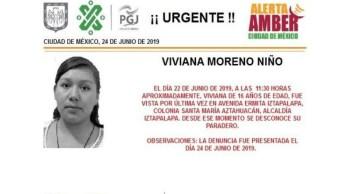 Foto Alerta Amber para ayudar a localizar a Viviana Moreno Niño 25 junio 2019