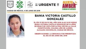 Foto Alerta Amber para localizar a Bania Victoria Castillo González 5 de junio 2019