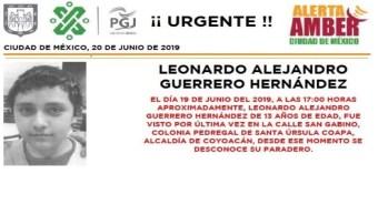 Foto Alerta Amber para localizar a Leonardo Alejandro Guerrero Hernández 20 junio 2019 cdmx