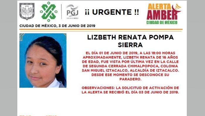 Foto Alerta Amber para localizar a Lizbeth Renata Pompa Sierra 3 junio 2019