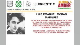 Foto Alerta Amber para localizar a Luis Emanuel Moran Márquez 5 junio 2019