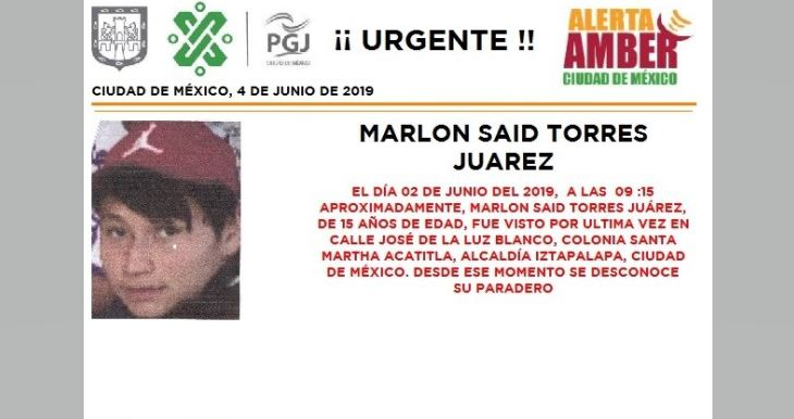 Foto Alerta Amber para localizar a Marlon Said Torres Juárez 4 junio 2019