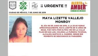 Foto Alerta Amber para localizar a Maya Lizette Vallejo Monroy 7 junio 2019