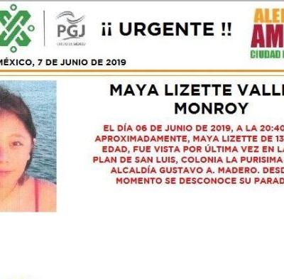 Alerta Amber: Ayuda a localizar a Maya Lizette Vallejo Monroy