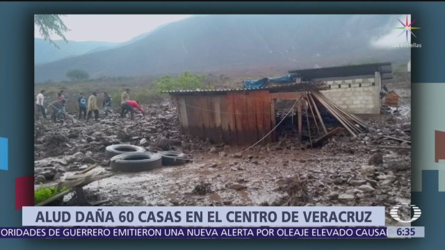 Alud daña 60 casas en el centro de Veracruz