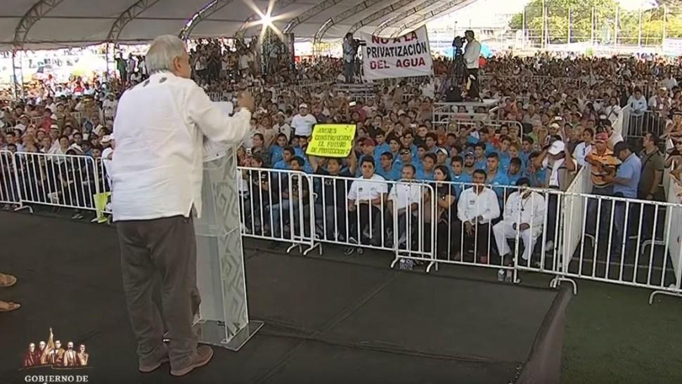 Foto: El presidente Andrés Manuel López Obrador durante un evento en Playa del Carmen, el 23 de junio de 2019 (Gobierno de México)