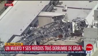 FOTO: Captan el momento exacto en que cae una grúa en Dallas, Texas; hay al menos un muerto y seis heridos