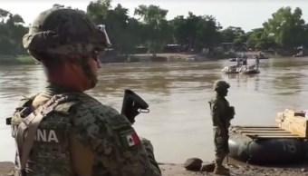 Refuerzan seguridad para evitar comercio informal por el río Suchiate, en Chiapas