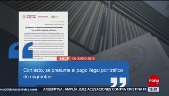 FOTO: La Secretaría de Hacienda informó que bloqueó las cuentas de 26 personas físicas y morales, por su probable vinculación con el tráfico de migrantes, así como organizar y apoyar ilícitamente a caravanas