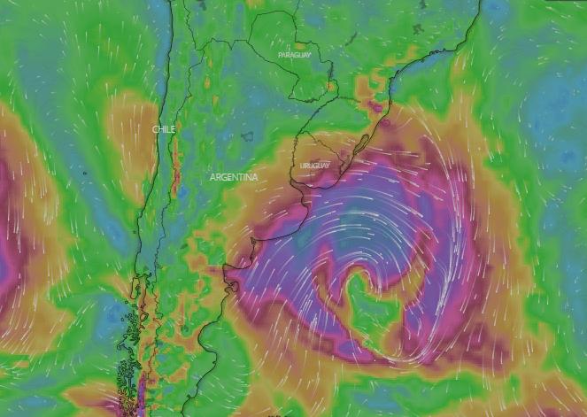 Foto: Mapa satelital de ciclón en Uruguay., 19 de mayo de 2019