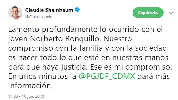 IMAGEN Localizan sin vida a Norberto Ronquillo, estudiante universitario secuestrado (Twitter 10 junio 2019 cdmx)