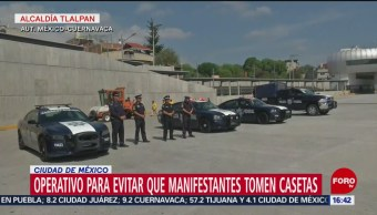 Foto: Con operativo evitan toma de caseta México-Cuernavaca