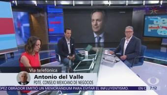 Consejo Mexicano de Negocios tiene confianza en gobierno de AMLO: Del Valle