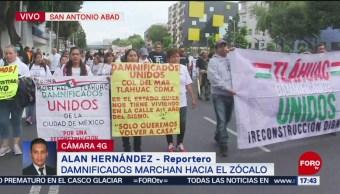 FOTO: Damnificados por el sismo de 2017 marchan al zócalo