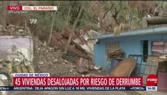 Foto: Desalojan viviendas por lluvias en Iztapalapa