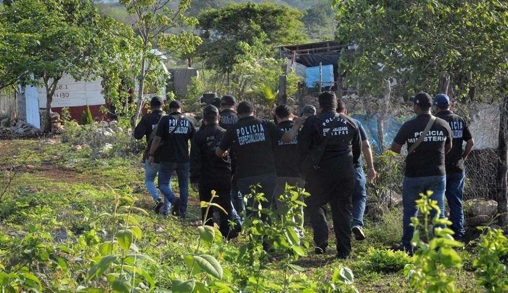 Foto: desalojo en predio invadido en Chiapas, 7 de junio 2019. Twitter @FGEChiapas