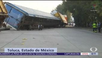 Descarrila tren de carga en Toluca, Edomex