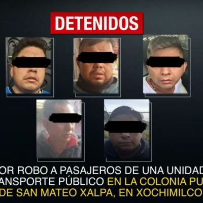 Detienen a 5 hombres por robo a transporte público en CDMX