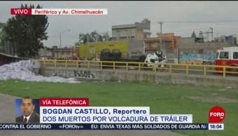 FOTO: Dos muertos por volcadura de tráiler en Periférico Oriente, CDMX, 22 Junio 2019