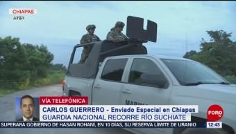 FOTO: Elementos de la Guardia Nacional recorren el río Suchiate
