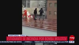 Foto: Estudiante Se Incendia Bomba Molotov Chile 19 Junio 2019