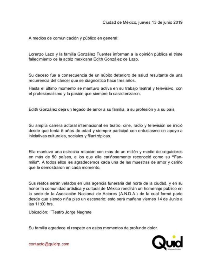 Foto: Agencia Quid da a conocer el comunicado de la familia 13 junio 2019