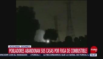 Fuga de combustible provoca desalojo de civiles en Acolman, Edomex
