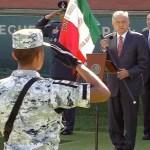Foto: El presidente de México, Andrés Manuel Lopez Obrador, realiza el abanderamiento de la Guardia Nacional, 30 junio 2019