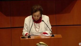 Imagen: La senadora de Morena, Ifigenia Martínez, dijo que en la ley hay temas que no están suficientemente discutidos, el 30 de junio de 2019. (Senado República)