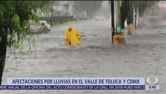 Lluvias causan afectaciones en el Valle de Toluca y CDMX