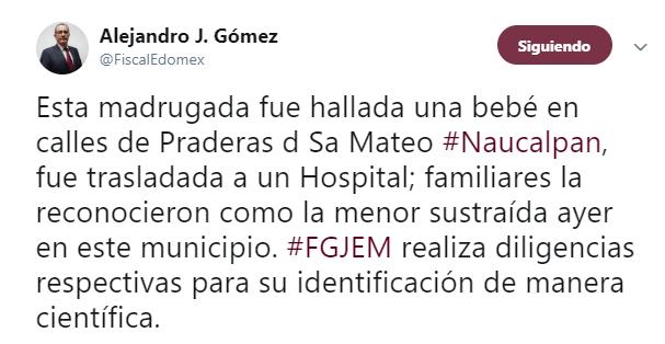 IMAGEN Localizan a bebé recién nacida robada en Naucalpan (Twitter 11 junio 2019 cdmx)