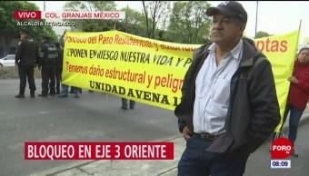 Manifestantes bloquean el Eje 3 Oriente en CDMX