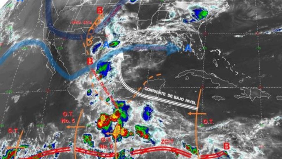 Imagen de fenómenos meteorológicos significativos de las 06:00 horas (@conagua_clima).
